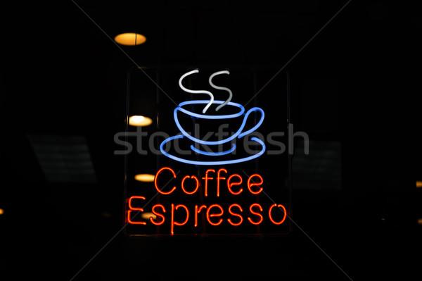 Café espresso enseigne au néon vue lumière restaurant Photo stock © boggy