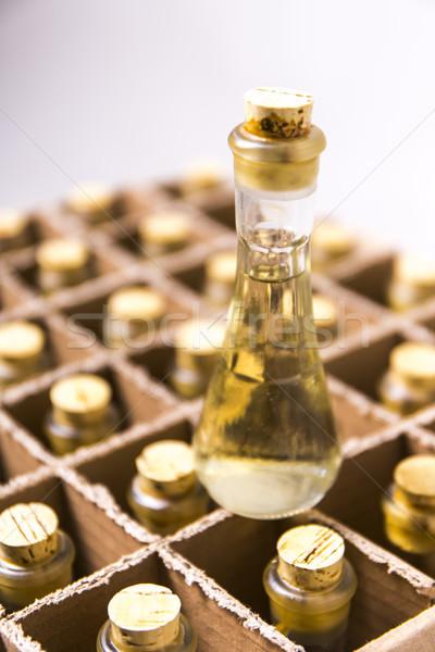 Coleção garrafas brandy ver água Foto stock © boggy