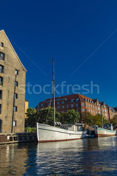Kanaal Kopenhagen Denemarken boten stad straat Stockfoto © boggy