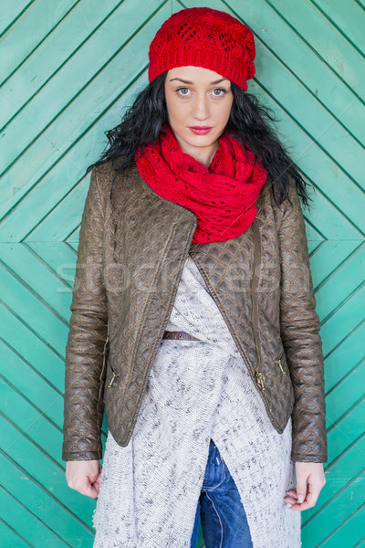 Young woman by the old door Stock photo © boggy