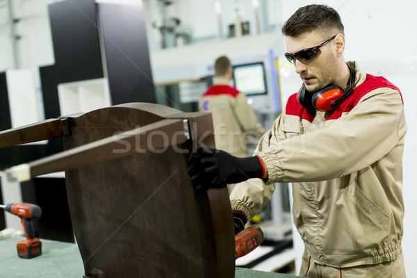Stockfoto: Jonge · mannen · werken · meubels · fabriek · twee · industrie