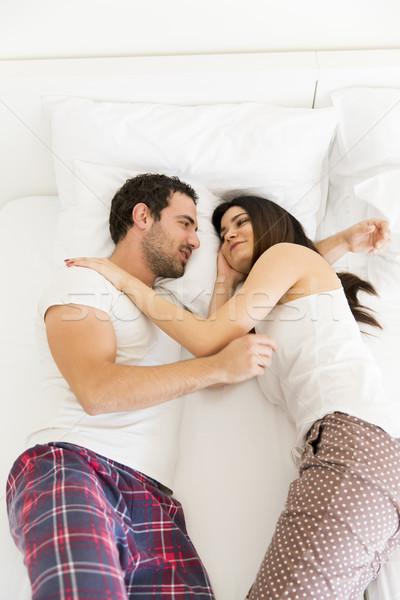 Przystojny bed widoku kobieta miłości Zdjęcia stock © boggy
