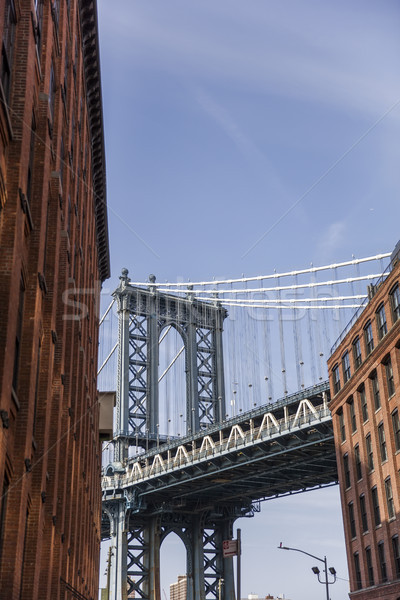Brick wall buildings and Manhattan Bridge in Brooklyn New York C Stock photo © boggy