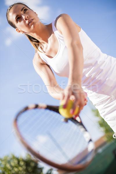 Jonge vrouw spelen tennis vrouwen fitness trein Stockfoto © boggy