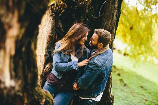 Szerető pár ősz park gyengédség nő Stock fotó © boggy