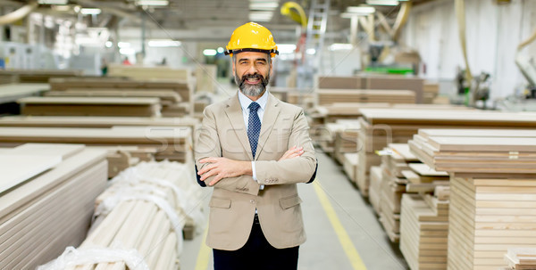 Portrait of handsome businessman in suit with helmet in a wareho Stock photo © boggy