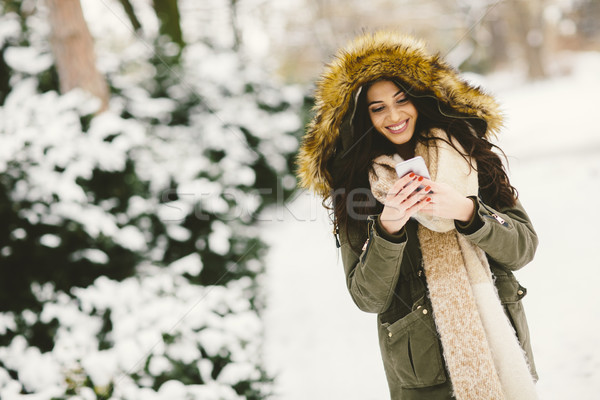 Young woman using a phone in the winter park Stock photo © boggy