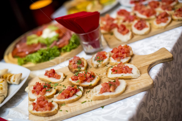 装飾された ケータリング 宴会 表 異なる 食品 ストックフォト © boggy