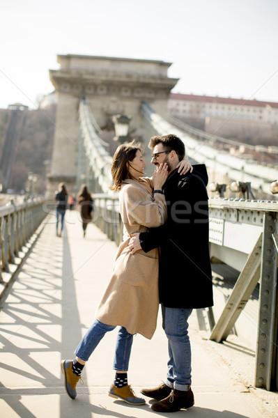 Amoroso Pareja cadena puente Budapest Hungría Foto stock © boggy