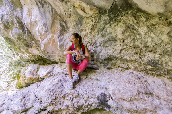 Young woman at hiking Stock photo © boggy