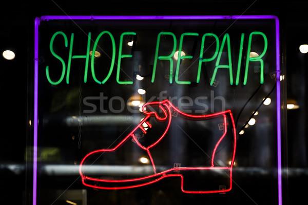 Neon renkli parlak ayakkabı tamir Stok fotoğraf © boggy