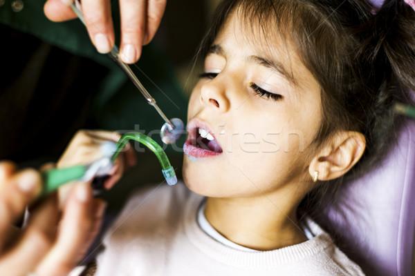 Stock foto: Kleines · Mädchen · Zahnarzt · zahnärztliche · Behandlung · Kind