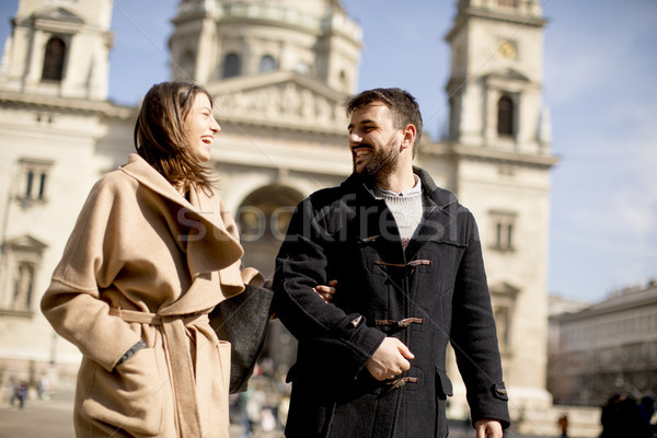 Loving couple in Budapest, Hungary Stock photo © boggy