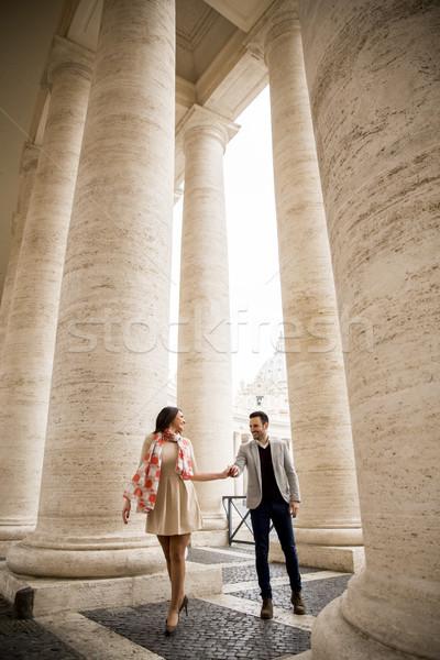 Kochający para placu watykan kobieta człowiek Zdjęcia stock © boggy