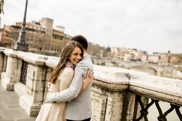 Loving couple by the Castel Sant'Angelo in Rome, Italy Stock photo © boggy
