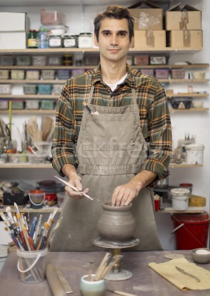 Foto stock: Moço · cerâmica · oficina · mão · trabalhando