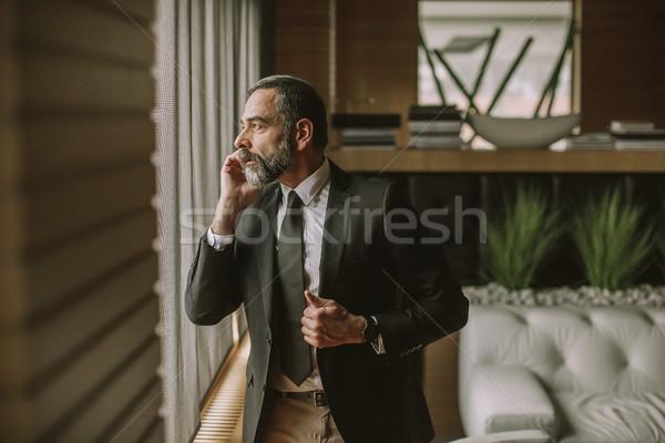 Foto stock: Retrato · senior · empresário · celular · moderno · escritório