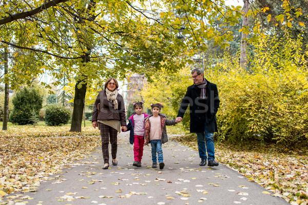 Großeltern Enkelkinder Herbst Park glücklich Fuß Stock foto © boggy