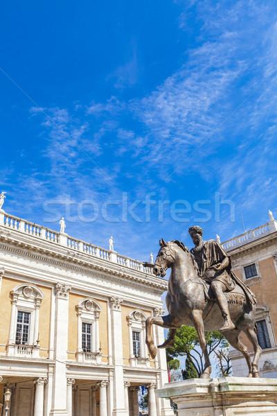 Marcus Aurelius statue on Piazza del Campidoglio in Rome Stock photo © boggy
