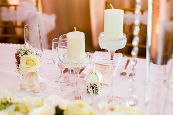 Stockfoto: Bruiloft · tabel · decoratie · detail · luxe · partij