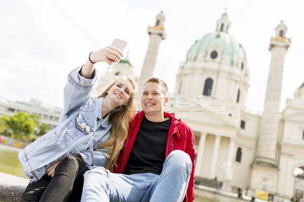 Dating gelukkig liefde foto Stockfoto © boggy