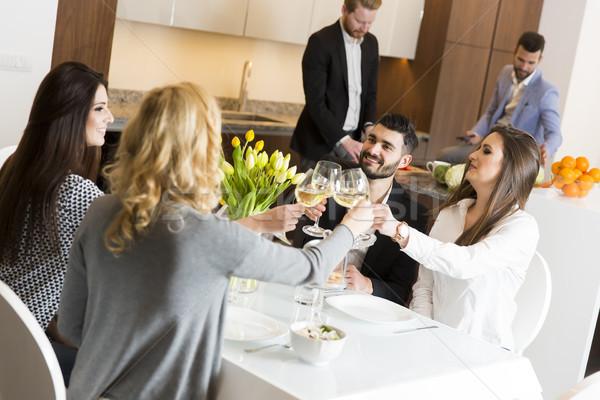 Prietenii şedinţei masa petrecere vin Imagine de stoc © boggy