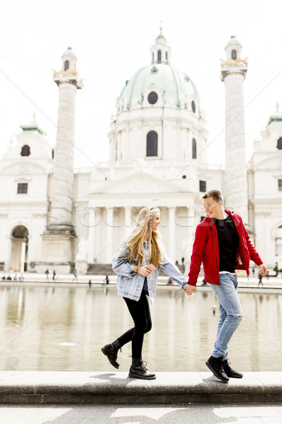 ходьбе , держась за руки вокруг Вена Австрия Сток-фото © boggy