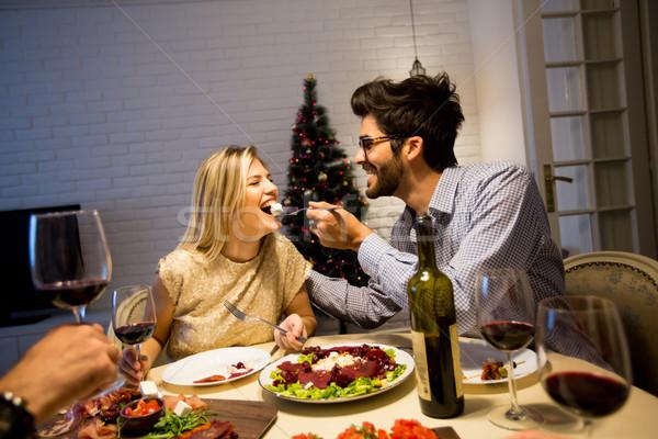 Zdjęcia stock: Christmas · obiedzie · odznaczony · nowy · rok · wnętrza · para