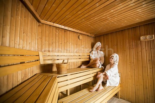 Iki mutlu rahatlatıcı kuru sauna Stok fotoğraf © boggy