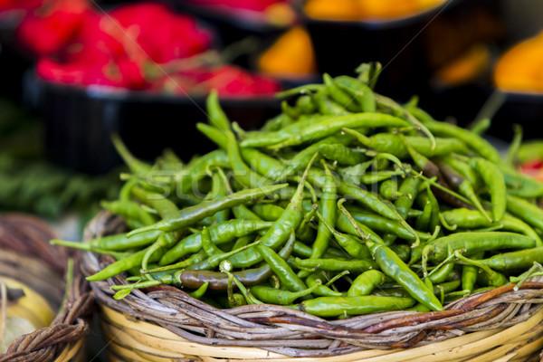 свежие пряный зеленый корзины рынке Сток-фото © boggy