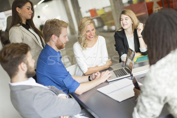 Multiracial businesspeople having meeting in conference room. Stock photo © boggy