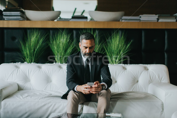 бизнесмен мобильного телефона современных служба красивый Сток-фото © boggy