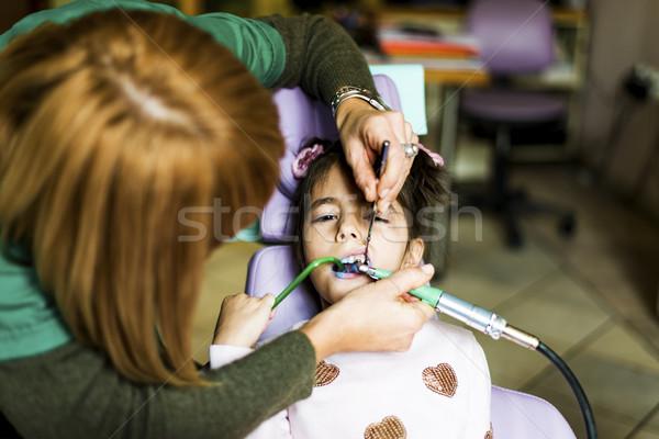Little girl dentista dental tratamento criança Foto stock © boggy
