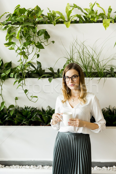 Beautiful caucasian businesswoman standing at her office by gree Stock photo © boggy