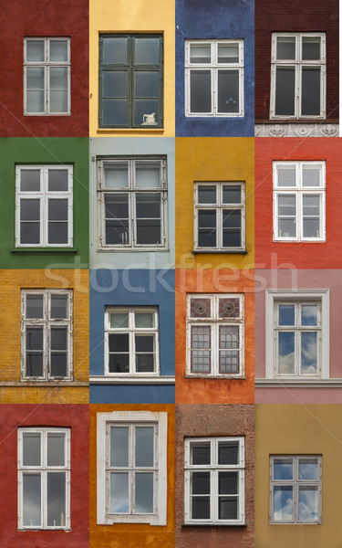 красочный Копенгаген Windows Дания дома Сток-фото © boggy