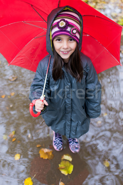 Little girl with umbrella at the rainy day Stock photo © boggy