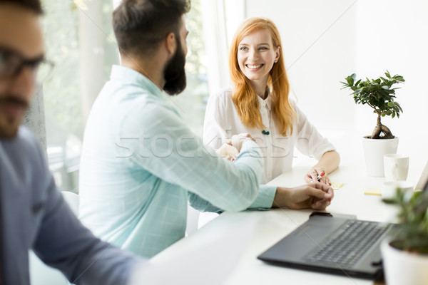 Business people shaking hands and  finishing up a meeting Stock photo © boggy