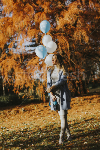 Foto stock: Mulher · grávida · outono · parque · balões · mão · jovem
