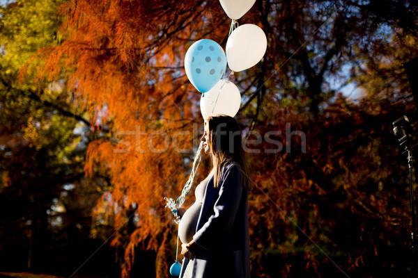 Foto stock: Jovem · mulher · grávida · outono · parque · balões · mão