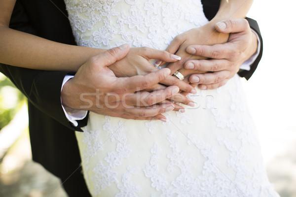 Młody człowiek oblubienicy suknia ślubna żona mąż rodziny Zdjęcia stock © boggy