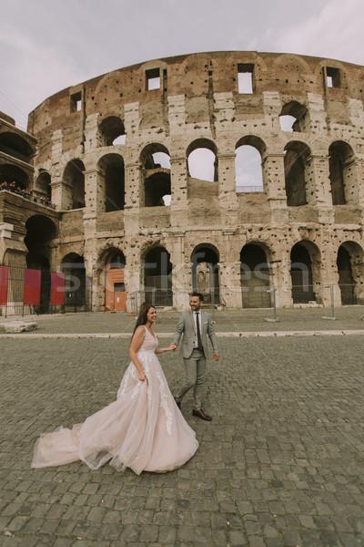 свадьба пару Колизей Рим Италия Европа Сток-фото © boggy