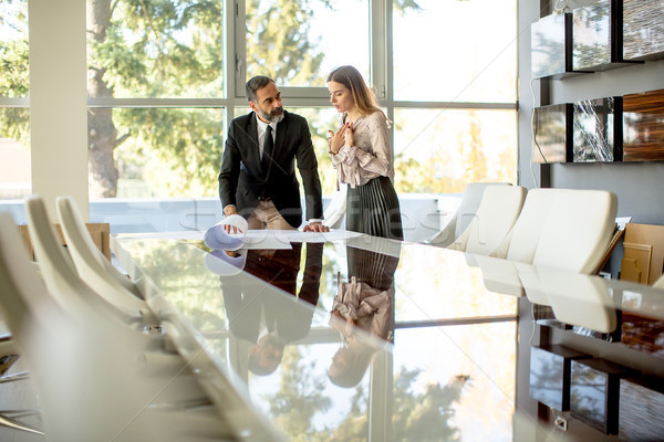 Young woman and middle-aged businessman working together on proj Stock photo © boggy