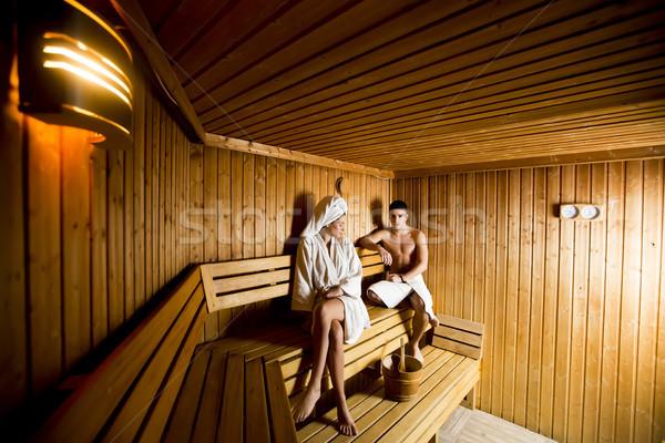 Rahatlatıcı sauna çift sağlık güzellik Stok fotoğraf © boggy