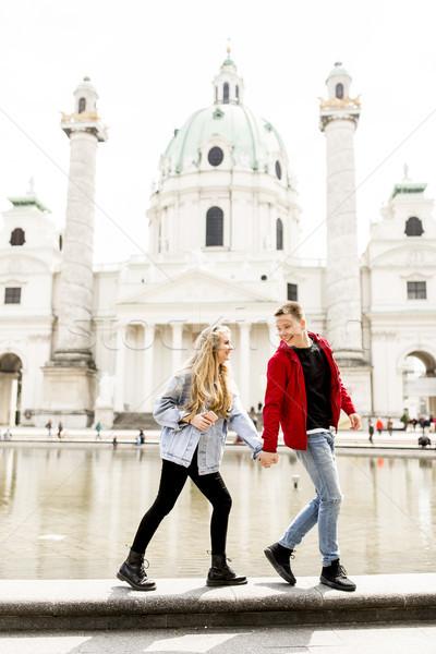 Couple walking holding hands around Vienna, Austria Stock photo © boggy