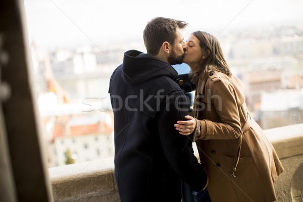 Liefhebbend paar historisch Boedapest Hongarije liefde Stockfoto © boggy