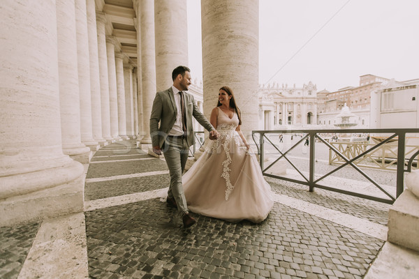 Pretty young bride in wedding dress in the Vatican Stock photo © boggy
