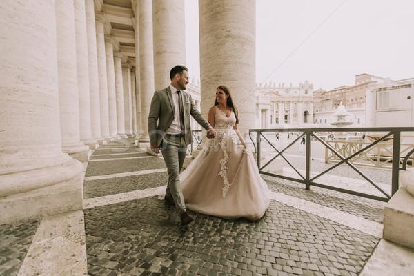 かなり 小さな 花嫁 ウェディングドレス バチカン 建物 ストックフォト © boggy