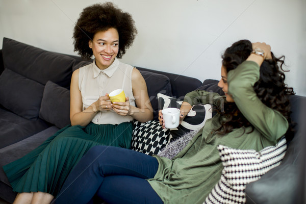 Two multiracial young women chatting and drinking coffe Stock photo © boggy