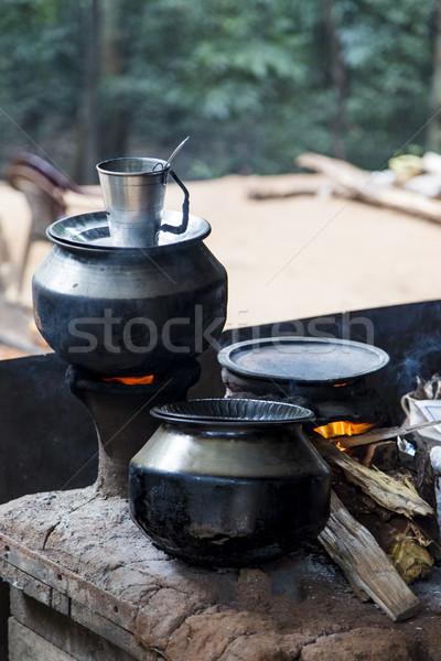 Traditional Sri Lankan two pot woodburning stove Stock photo © boggy