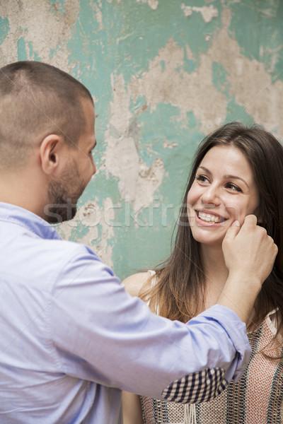 Férfi húz arc nő fiatalember pár Stock fotó © boggy